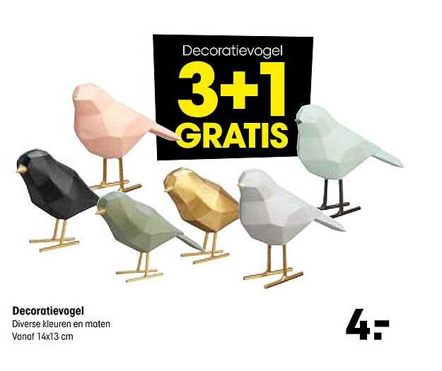 Kwantum Decoratievogel 14x13 Cm 3+1 Gratis