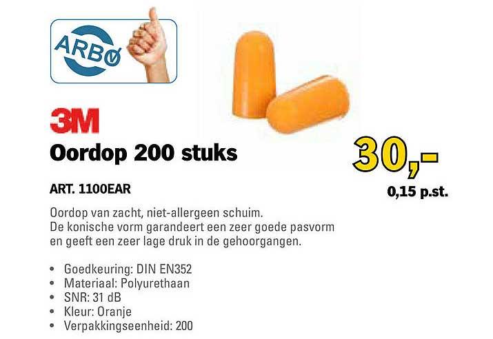Toolspecial 3M Oordop 200 Stuks