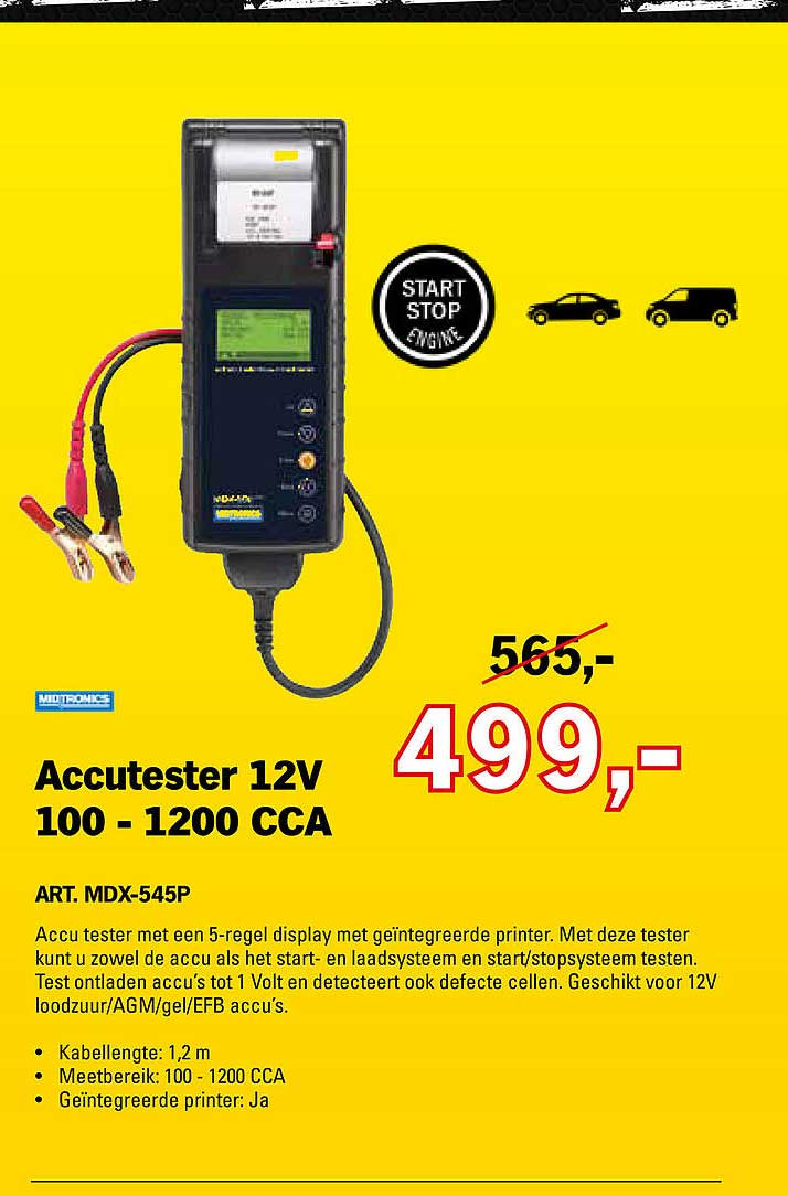 Toolspecial Accutester 12V 100 - 1200 CCA