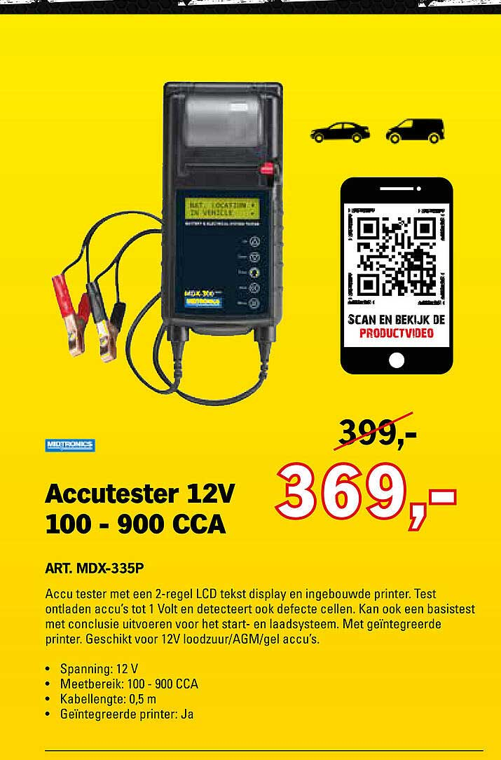 Toolspecial Accutester 12V 100 - 900 CCA