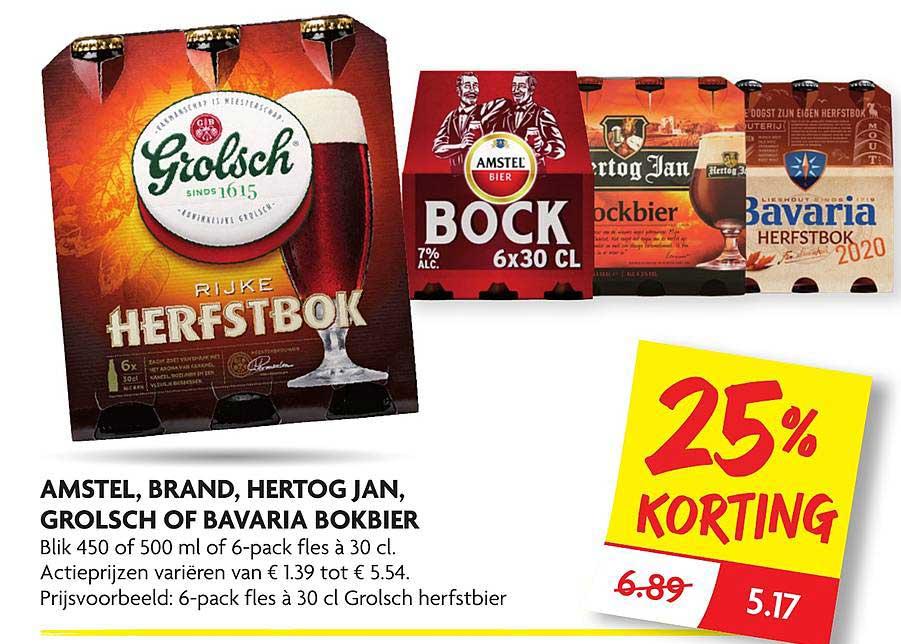 DekaMarkt Amstel, Brand, Hertog Jan, Grolsch Of Bavaria Bokbier 25% Korting