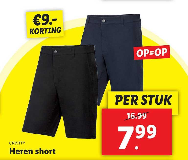 Lidl Shop Crivit® Heren Short €9.- Korting
