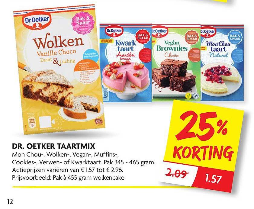 DekaMarkt Dr. Oetker Taartmix Mon Chou-, Wolken-, Vegan-, Muffins-, Cookies-, Verwen-, Of Kwarktaart 25% Korting
