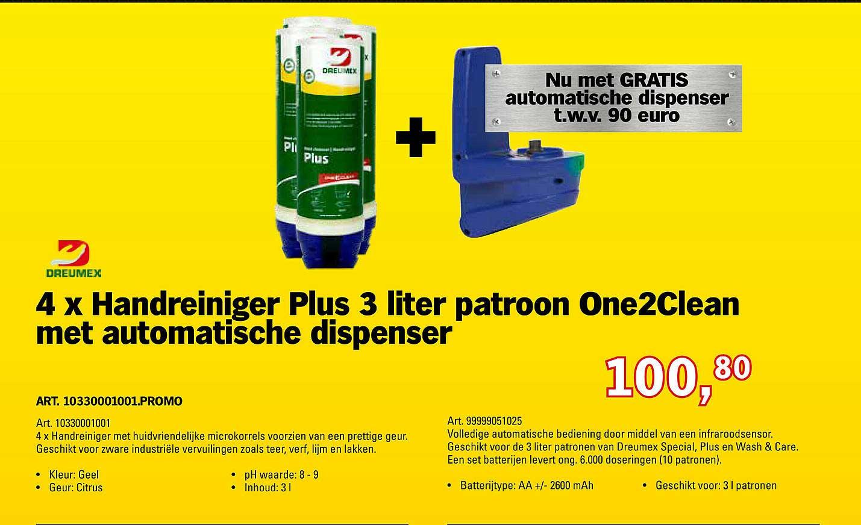 Toolspecial Dreumex 4 X Handreiniger Plus 3 Liter Patroon One2Clean Met Automatische Dispenser
