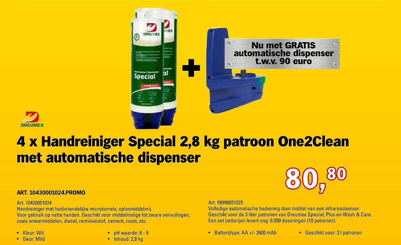 Toolspecial Dreumex 4 X Handreiniger Special 2,8 Kg Patroon One2Clean Met Automatische Dispenser