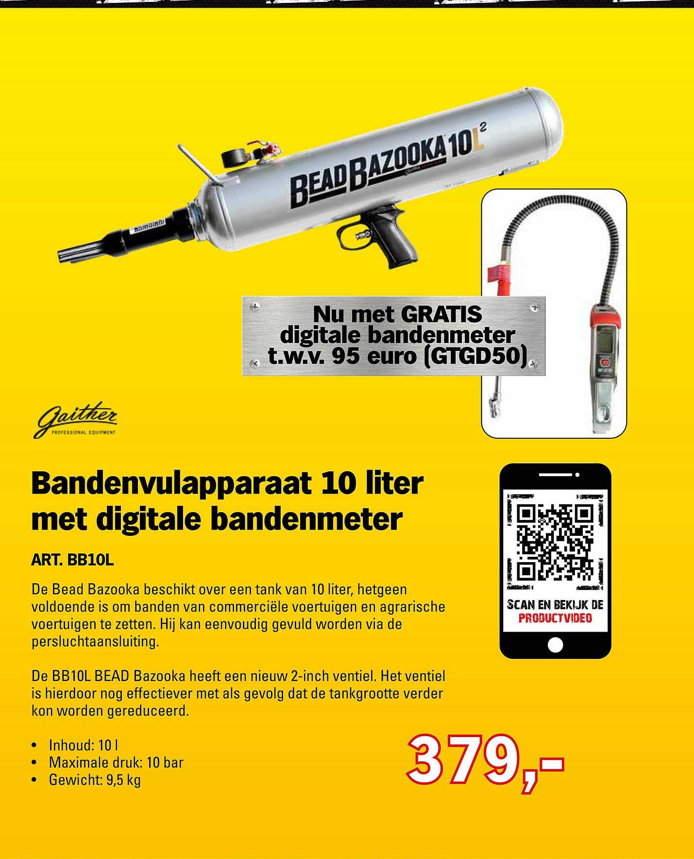 Toolspecial Gaither Bandenvulapparaat 10 Liter Met Digitale Bandenmeter