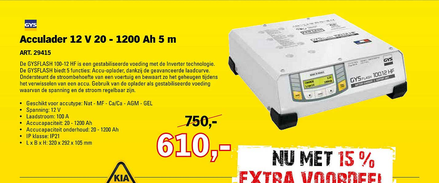 Toolspecial GYS Acculader 12 V 20 - 1200 Ah 5 M