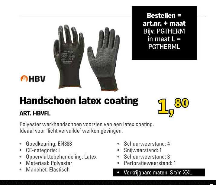 Toolspecial HBV Handschoen Latex Coating