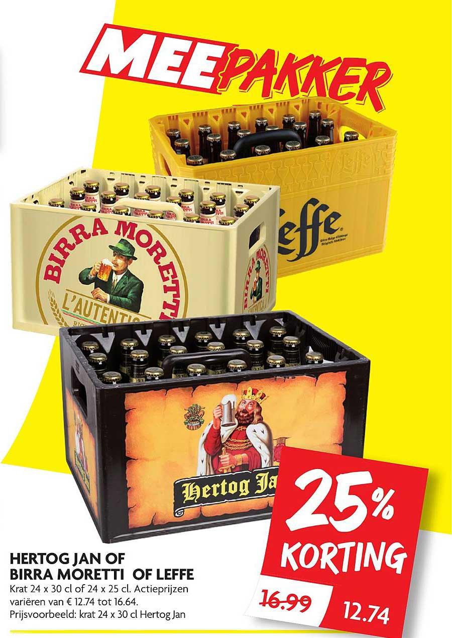 DekaMarkt Hertog Jan Of Birra Moretti Of Leffe 25% Korting
