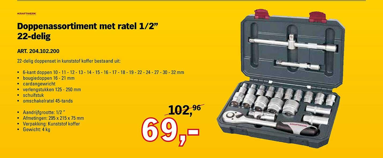 Toolspecial Kraftwerk Doppenassortiment Met Ratel ½