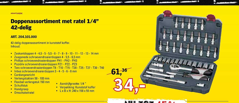 Toolspecial Kraftwerk Doppenassortiment Met Ratel ¼