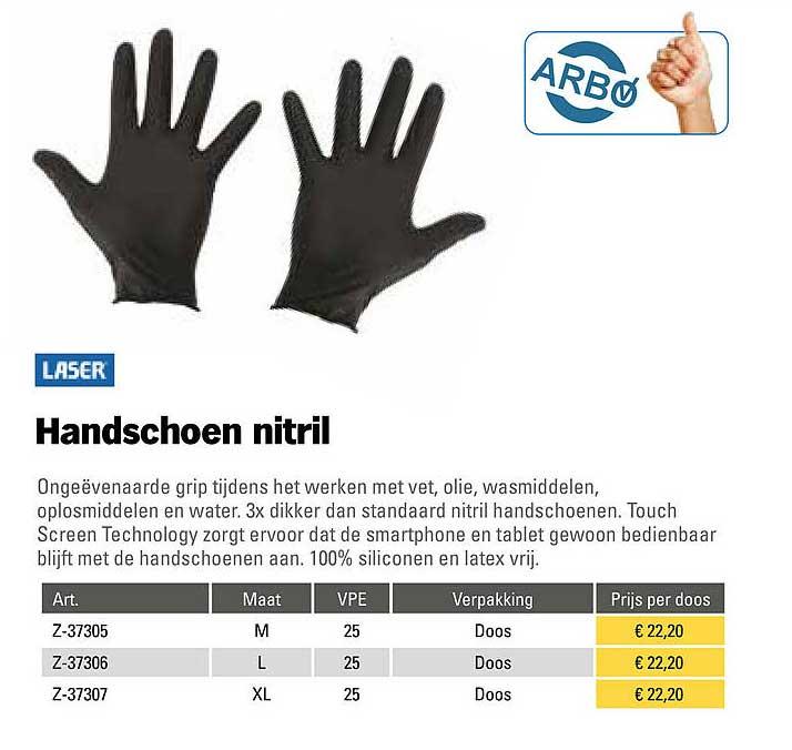 Toolspecial Laser Handschoen Nitril