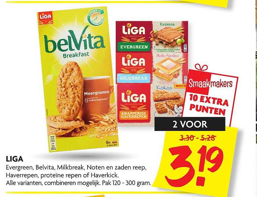 DekaMarkt Liga Evergreen, Belvita, Milkbreak, Noten En Zaden Reep, Haverrepen, Proteïne Repen Of Haverkick