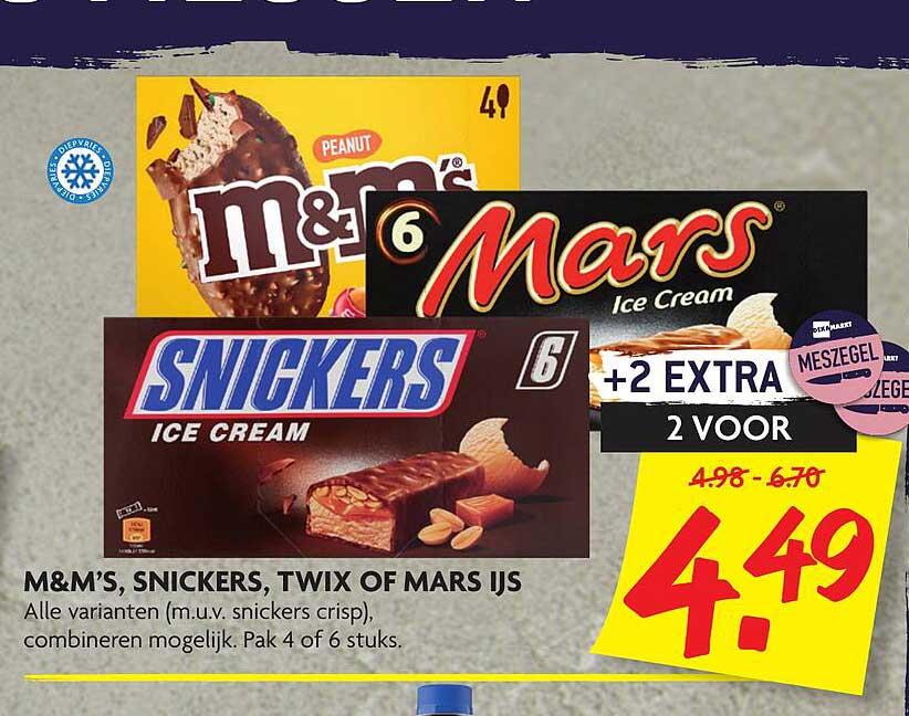 DekaMarkt M&M's, Snickers, Twix Of Mars Ijs