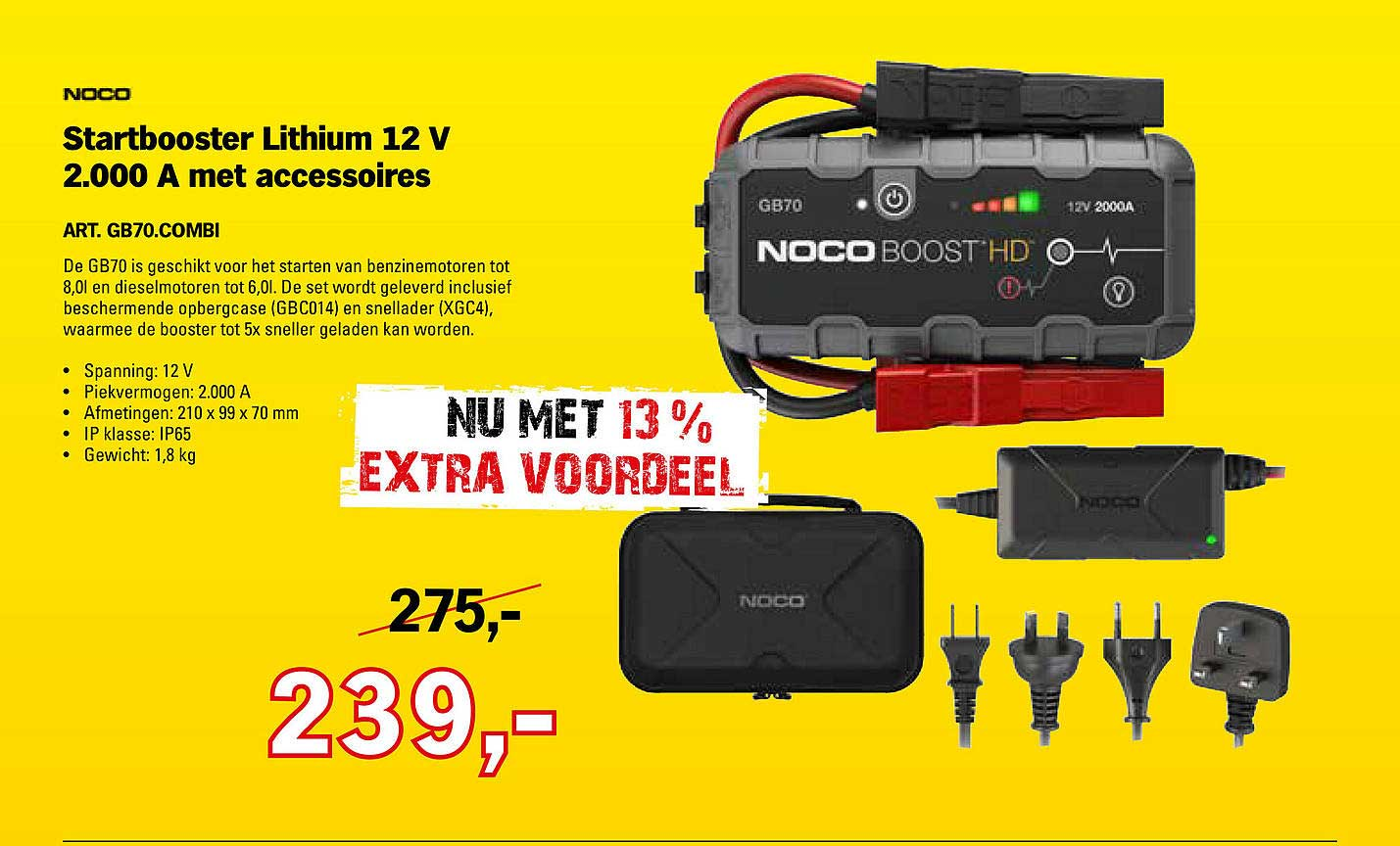 Toolspecial Noco Startbooster Lithium 12 V 2.000 A Met Accessoires