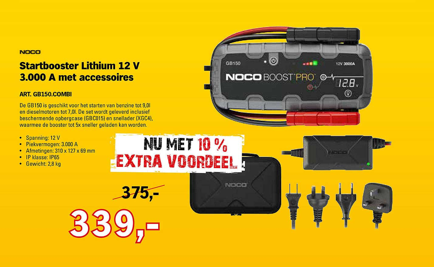 Toolspecial Noco Startbooster Lithium 12 V 3.000 A Met Accessoires