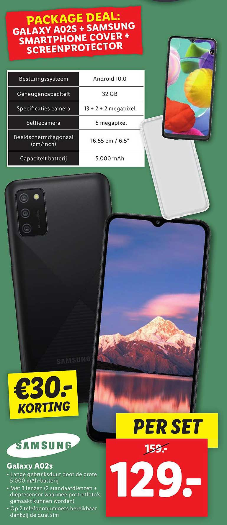 Lidl Samsung Galaxy A02s €30.- Korting