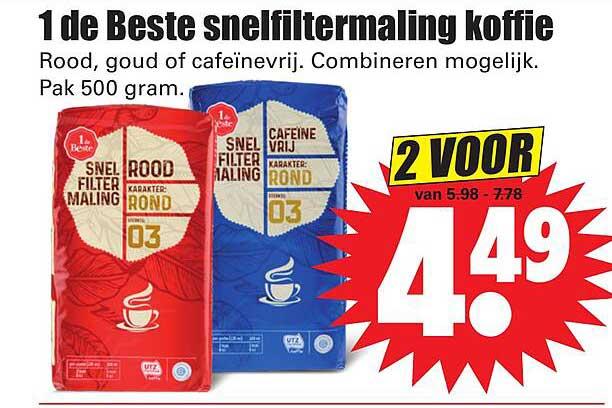 Dirk 1 De Beste Snelfiltermaling Koffie Rood, Goud Of Cafeïnevrij
