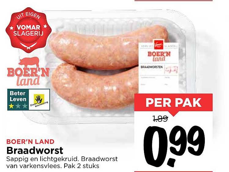 Vomar Boer'n Land Braadworst