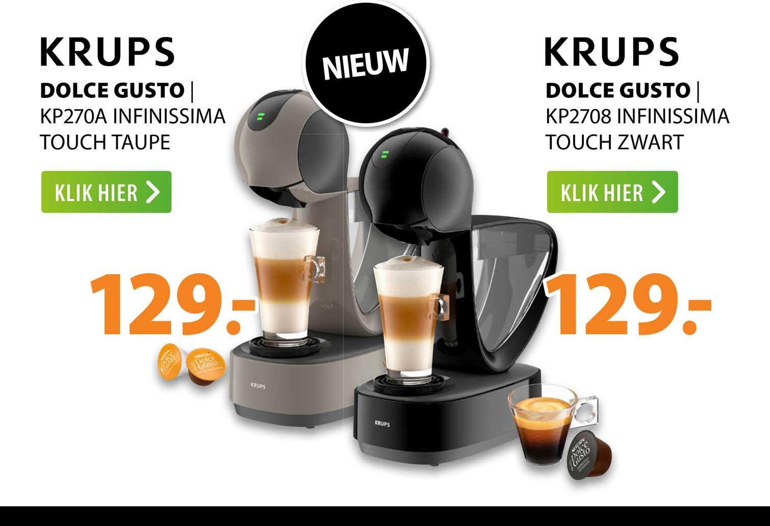 Expert Krups Dolce Gusto   KP270A Infinissima Touch Taupe Of Krups Dolce Gusto   KP2708 Infinissima Touch Zwart