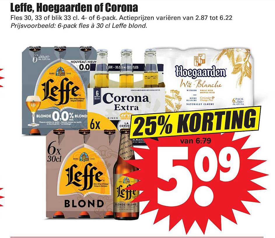 Dirk Leffe, Hoegaarden Of Corona 25% Korting