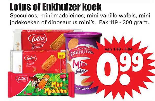 Dirk Lotus Of Enkhuizer Koek Speculoos, Mini Madeleines, Mini Vanille Wafels, Mini Jodekoeken Of Dinosaurus Mini's