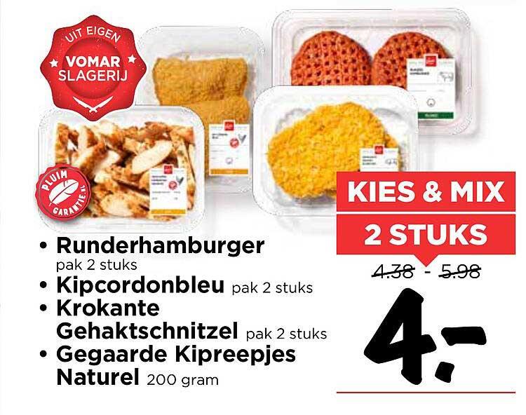 Vomar Runderhamburger, Kipcordonbleu, Krokante Gehaktschnitzel Of Gegaarde Kipreepjes Naturel