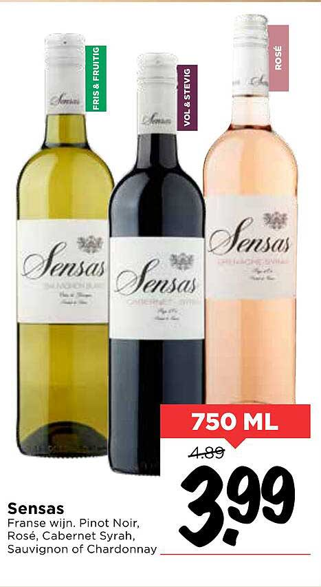 Vomar Sensas Pinot Noir, Rosé, Cabernet Syrah, Sauvignon Of Chardonnay Franse Wijn