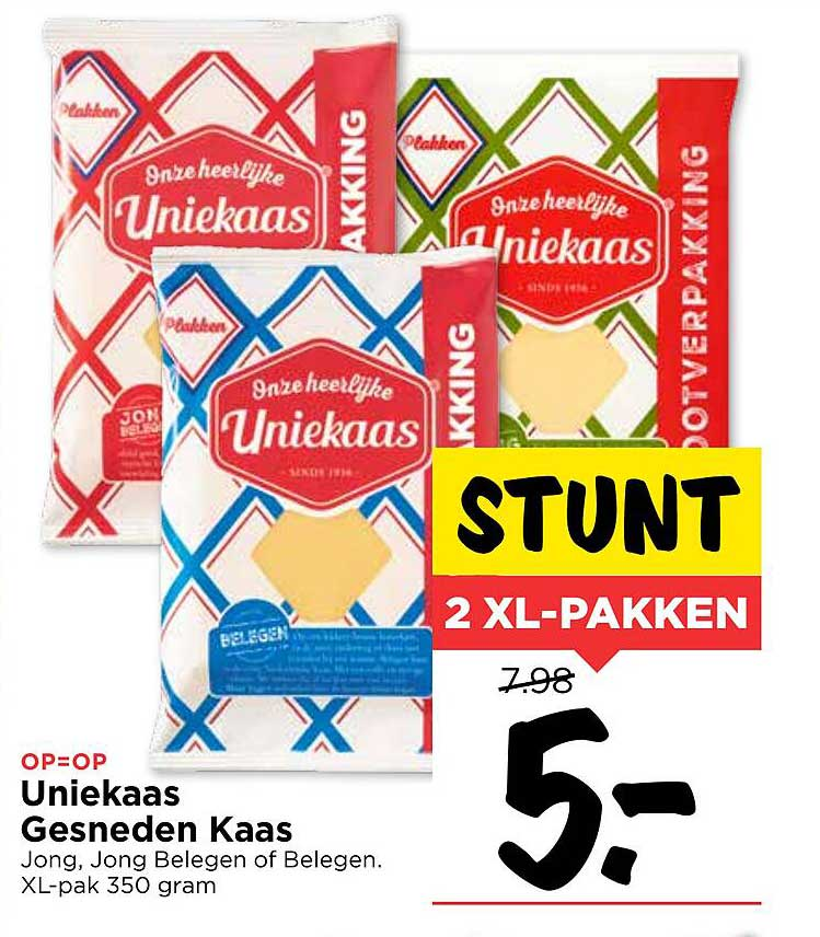 Vomar Uniekaas Gesneden Kaas Jong, Jong Belegen Of Belegen XL-Pack