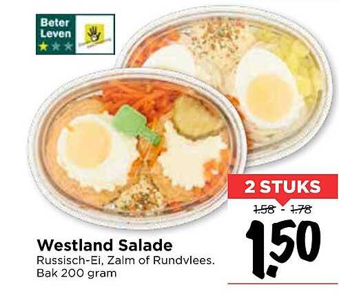 Vomar Westland Salade Russisch-Ei, Zalm Of Rundvlees