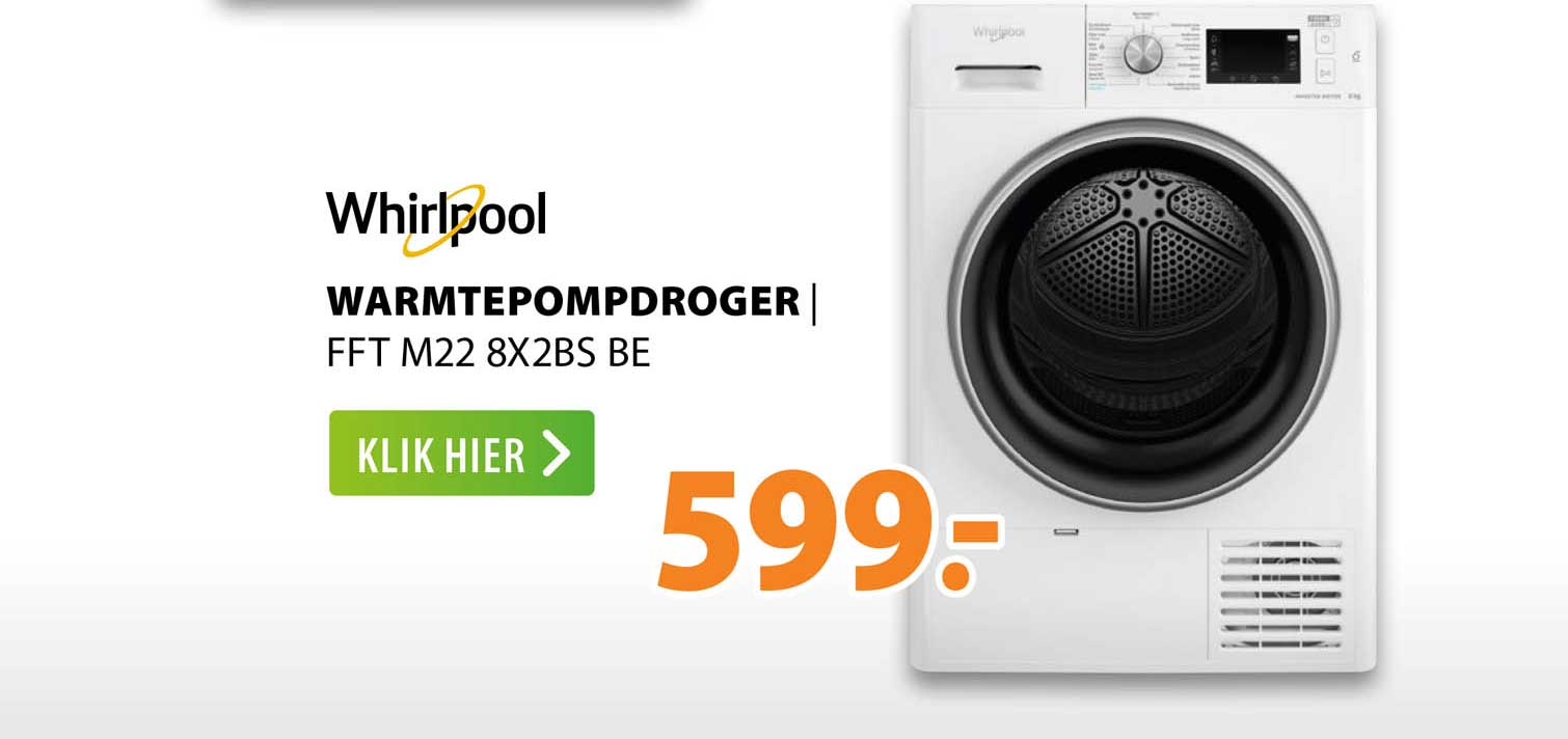 Expert Whirlpool Warmtepompdroger   FFT M22 8X2BS BE