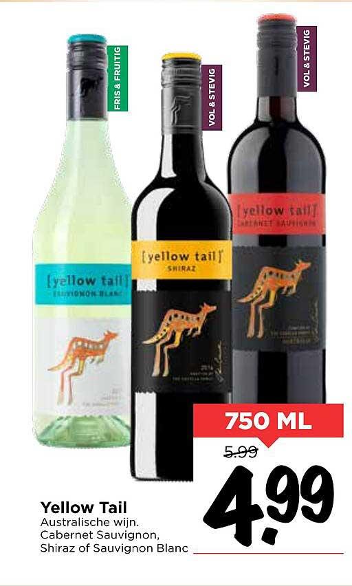 Vomar Yellow Tail Cabernet Sauvignon, Shiraz Of Sauvignon Blanc Australische Wijn