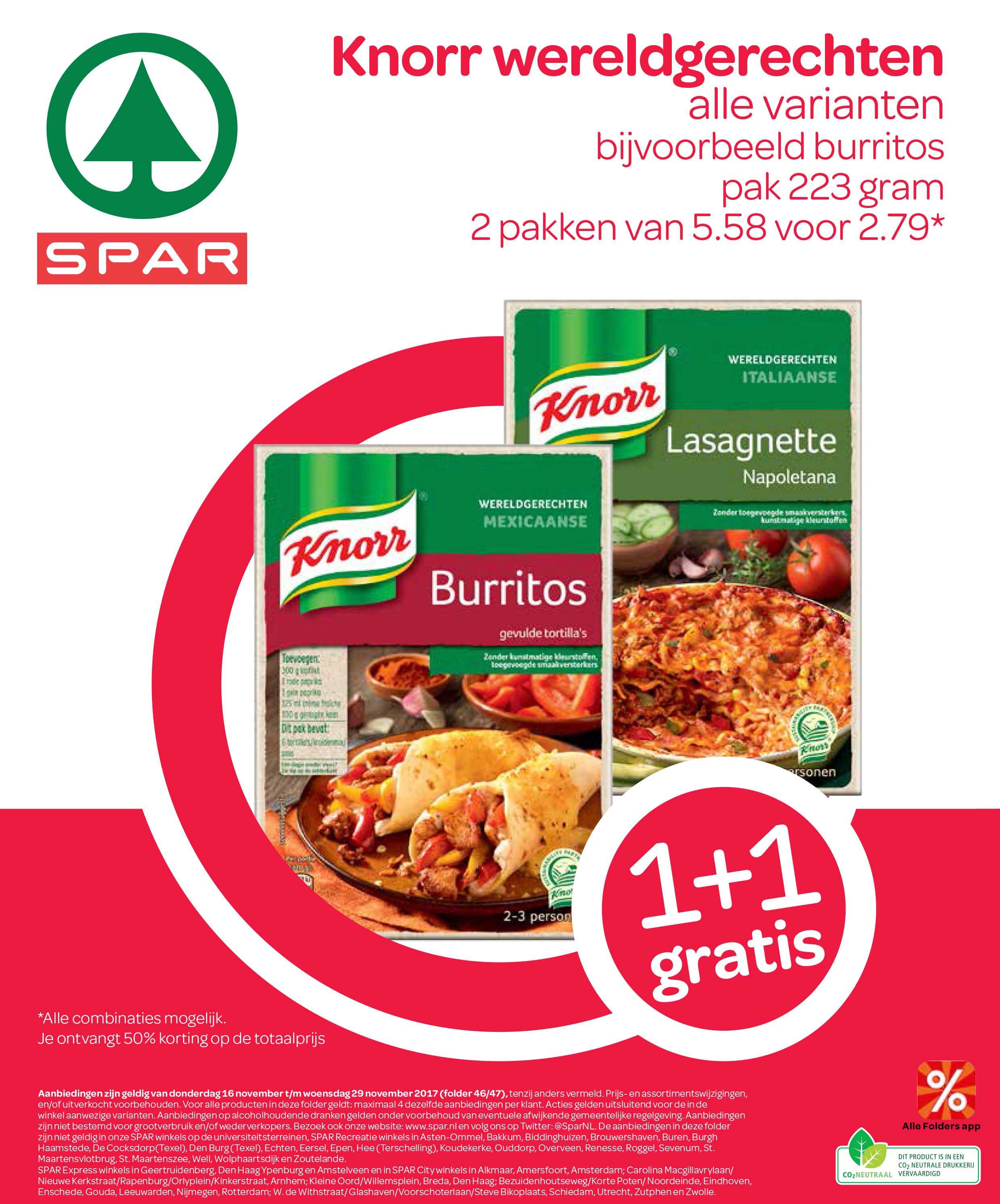 Spar Knorr Wereldgerechten: 1+1 Gratis