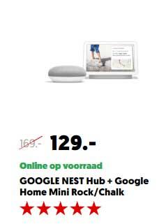 Mediamarkt Google Nest Hub + Google Home Mini Rock - Chalk