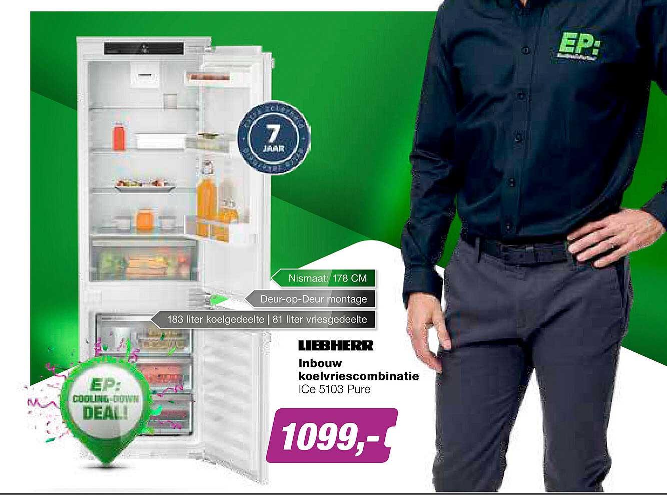 EP Liebherr Inbouw Koelvriescombinatie Ice 5103 Pure