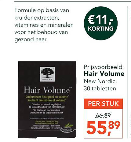Holland & Barrett Hair Volume €11.- Korting