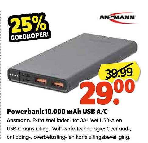 Plentyparts Powerbank 10.000 MAh USB A-C Ansmann