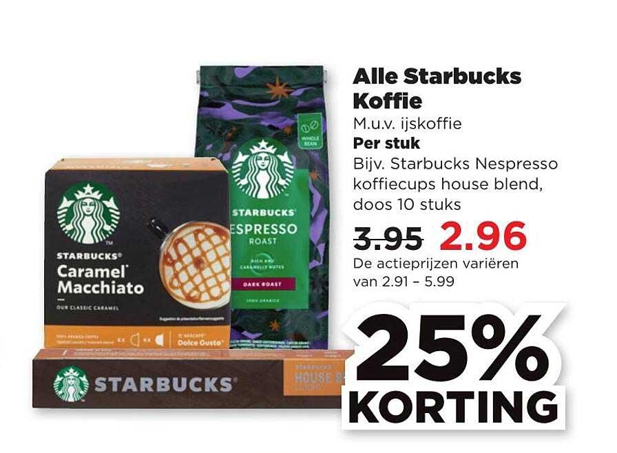 PLUS Alle Starbucks Koffie 25% Korting