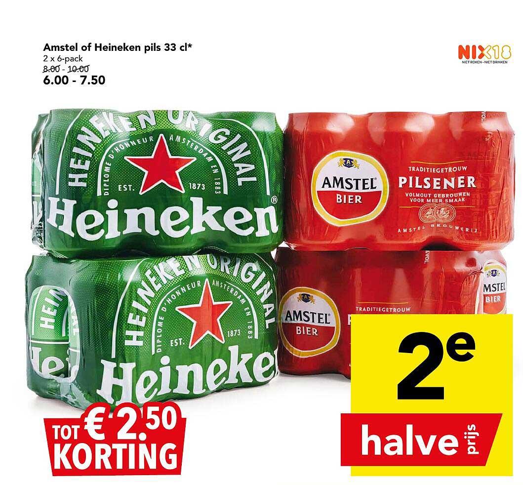 DEEN Amstel Of Heineken Pils 33 Cl Tot € 2.⁵⁰ Korting