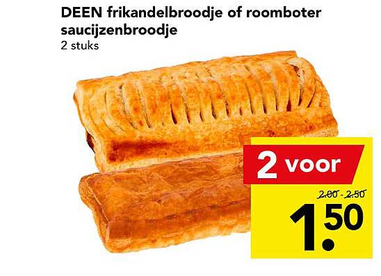 DEEN Deen Frikandelbroodje Of Roomboter Saucijzenbroodje