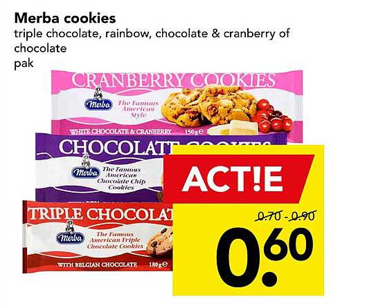 DEEN Merba Cookies Triple Chocolate, Rainbow, Chocolate & Cranberry Of Chocolate