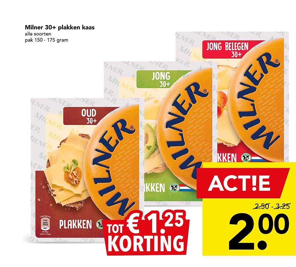 DEEN Milner 30+ Plakken Kaas Tot € 1.²⁵ Korting