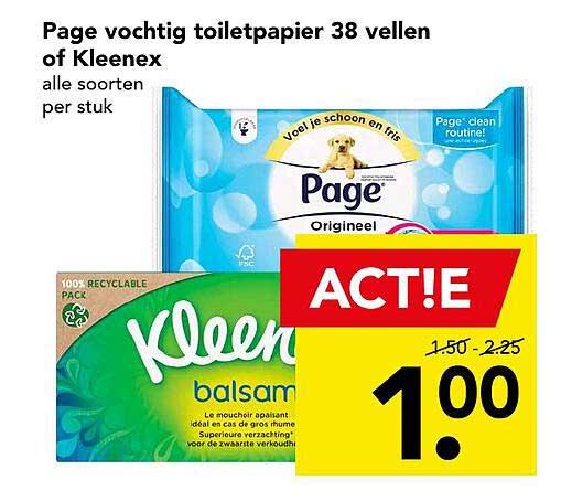 DEEN Page Vochtig Toiletpapier 38 Vellen Of Kleenex