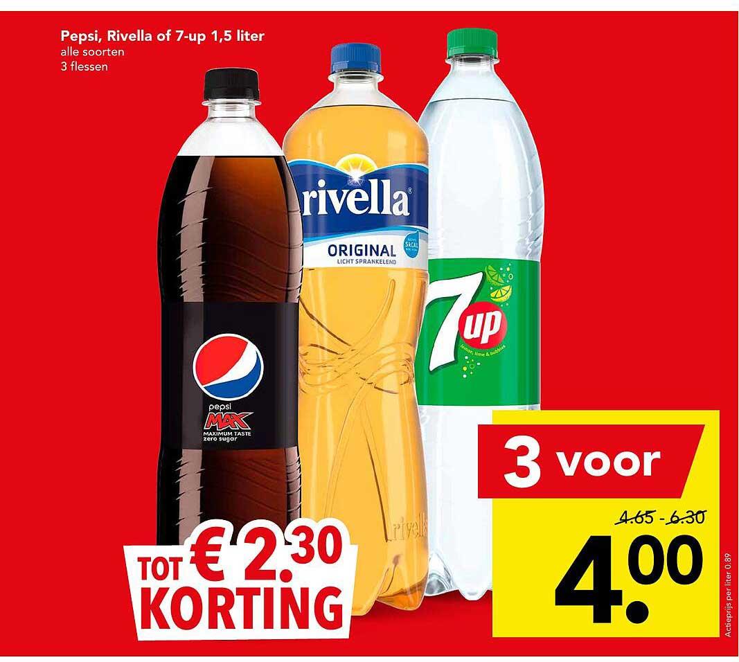 DEEN Pepsi, Rivella Of 7-Up 1,5 Liter Tot € 2.³⁰ Korting