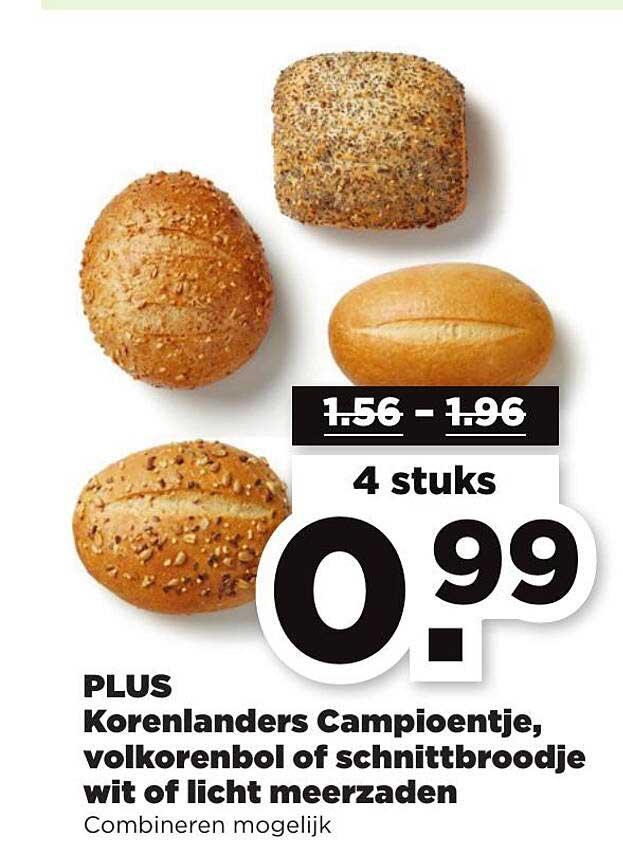 PLUS Plus Korenlanders Campioentje, Volkorenbol Of Schnittbroodje Wit Of Licht Meerzaden