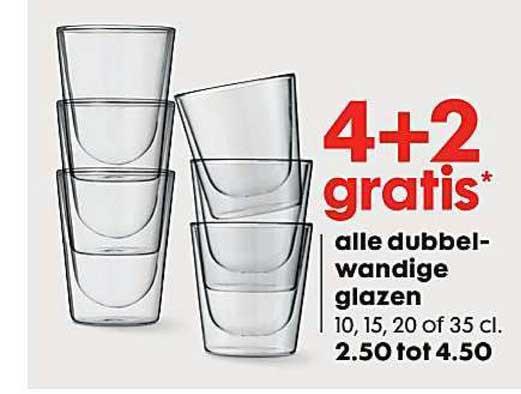 HEMA Alle Dubbelwandige Glazen: 4+2 Gratis