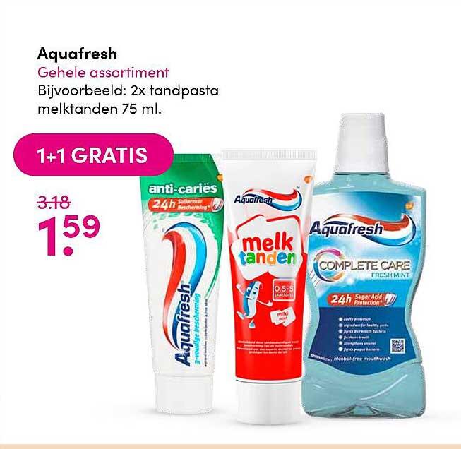 DA Aquafresh Tandpasta 1+1 Gratis