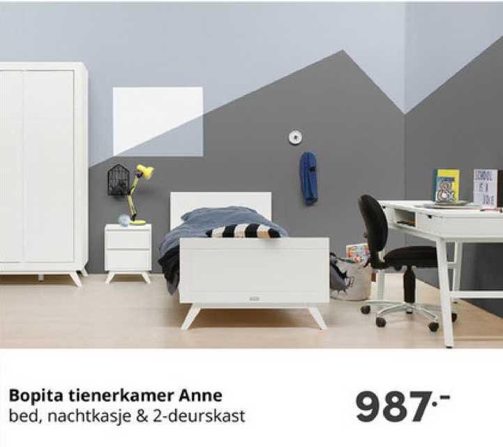 Baby & Tiener Bopita Tienerkamer Anne : Bed, Nachtkasje & 2-Deurskast