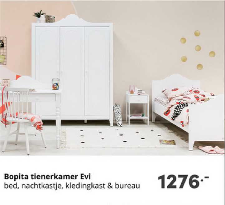 Baby & Tiener Bopita Tienerkamer Evi : Bed, Nachtkastje, Kledingkast & Bureau