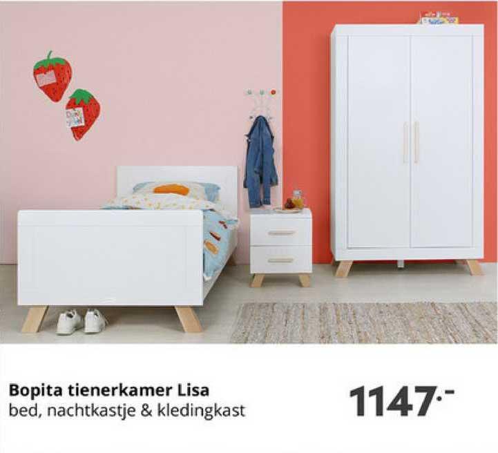 Baby & Tiener Bopita Tienerkamer Lisa : Bed, Nachtkastje & Kledingkast